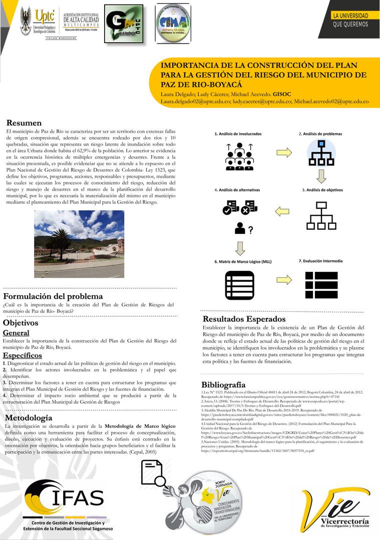 Importancia de la construccion del plan para la gestion para el riesgo del municipio de Paz del Río - Boyacá