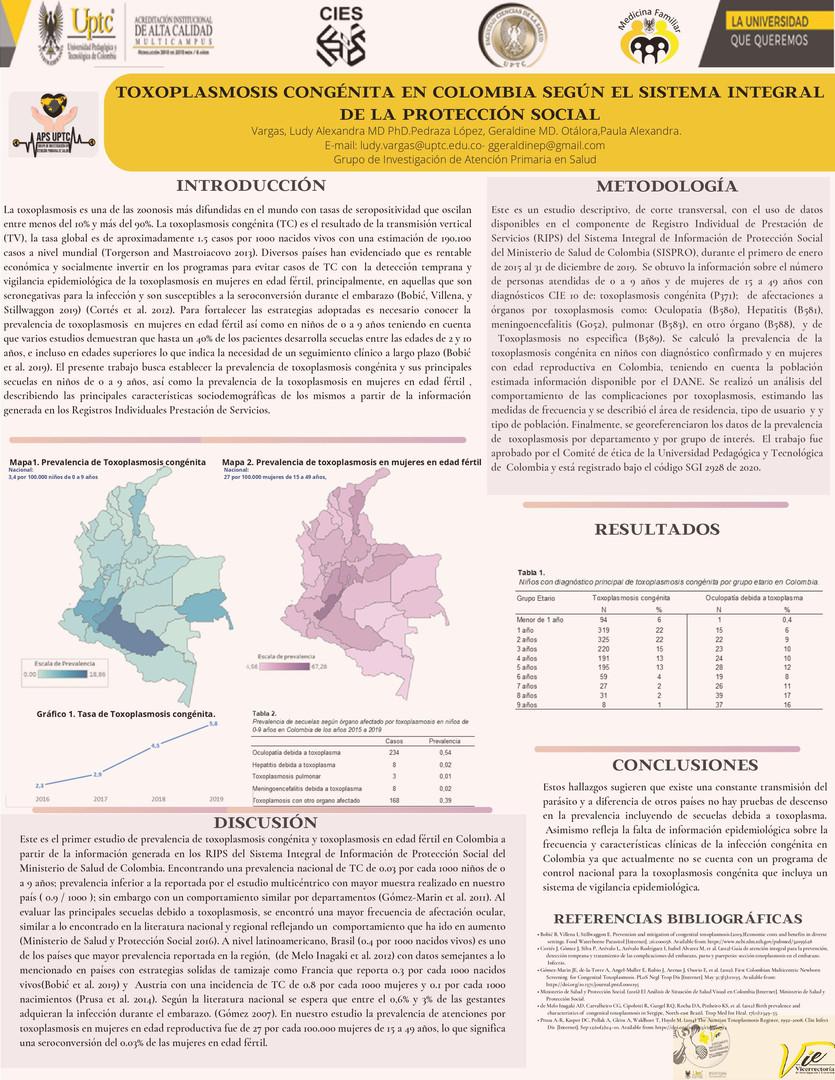 Toxoplasmosis Congénita en Colombia según el Sistema Integral de la Protección Social