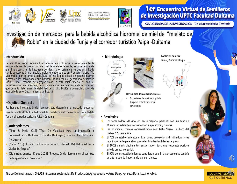 """Investigación de mercados  para la bebida alcohólica hidromiel de miel de  """"mielato de Roble"""" en la ciudad de Tunja y el corredor turístico Paipa -Duitama"""