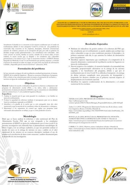 Análisis de la cobertura y valor nutricional del PAE que se está otorgando a los estudiantes pertenecientes al sistema integrado de matrícula SIMAT en época de confinamiento por el virus COVID-19 en la ciudad de Sogamoso - Boyacá en el ao 2020