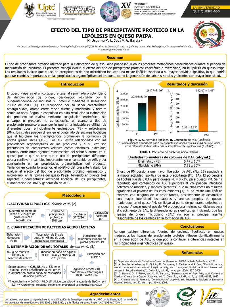 Efecto del tipo de precipitante proteico en la lipólisis en queso Paipa