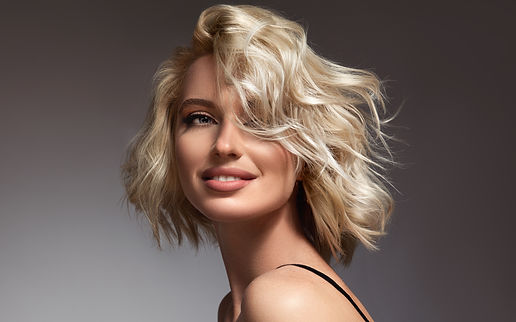 Beautiful model girl with short hair .Be