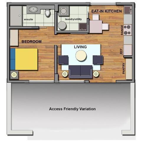 Garden home access friendly floor plan sample