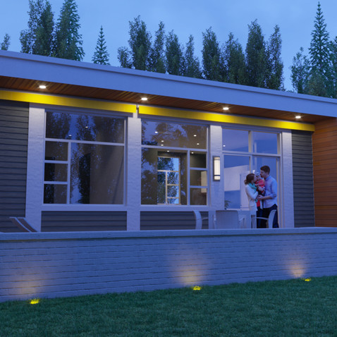 Garden home flat roof front sample