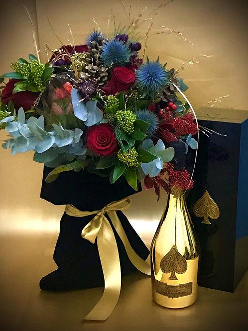 Armand De Brignac Brut Gold 750ml, with a Premium Christmas Bouquet
