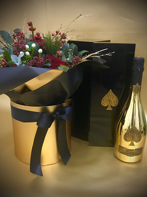 Armand De Brignac Brut Gold 750ml, with a Premium Christmas Bouquet