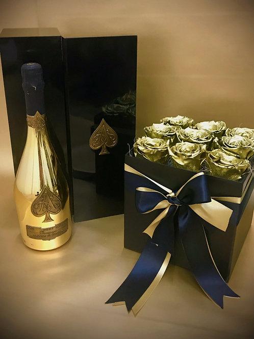 Armand De Brignac Brut Gold 750ml, with Gold Luxury Roses