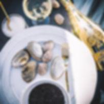 Armand de Brignac Gold Brut and Mussels.