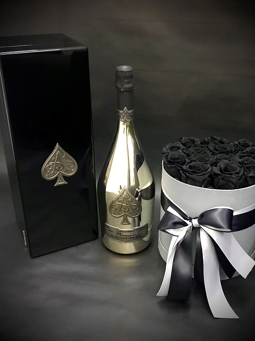 Armand de Brignac Blanc de Blancs 1.5L with black Luxury Roses