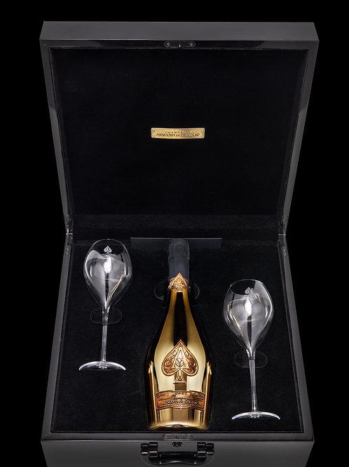 Armand de Brignac Brut Gold with 2 flute glasses