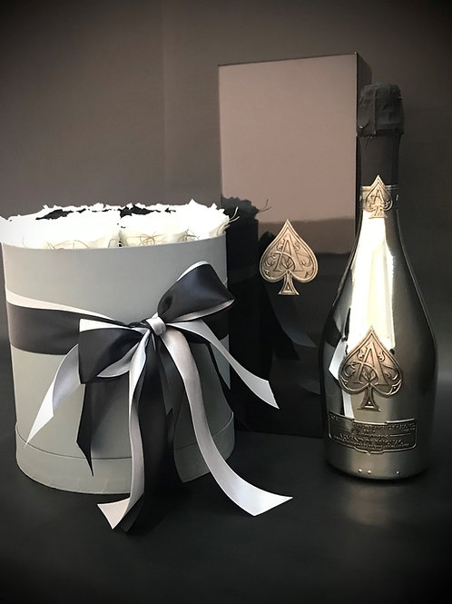Armand de Brignac Blanc de Blancs 750ml με λευκά και μαύρα Luxury Roses