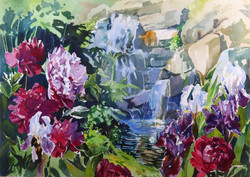 Peonies by the Falls