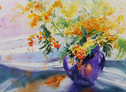 Flowers in Purple Vase
