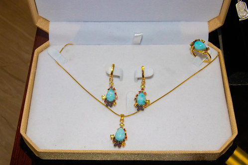 Gemstone set laminar stone Necklace, Earrings and ring Size 7.5