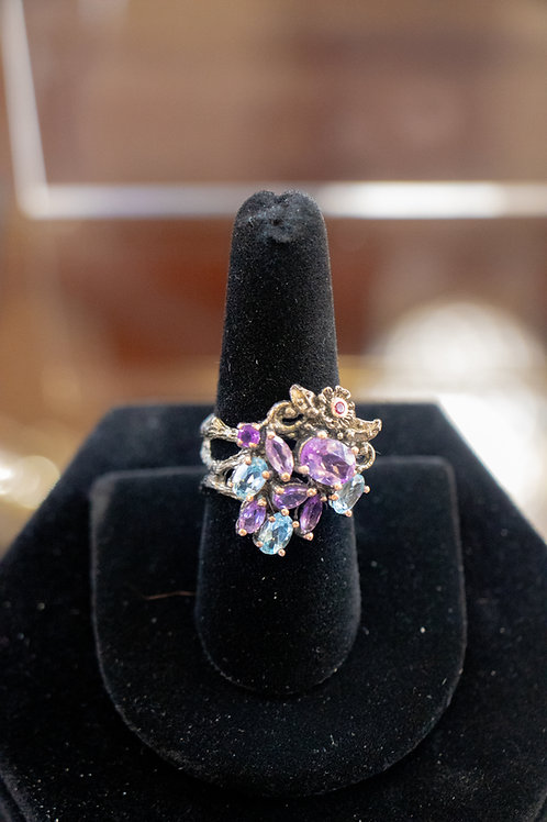 gemstone beautiful ring  and Topaz & amethyst size 8 # A4