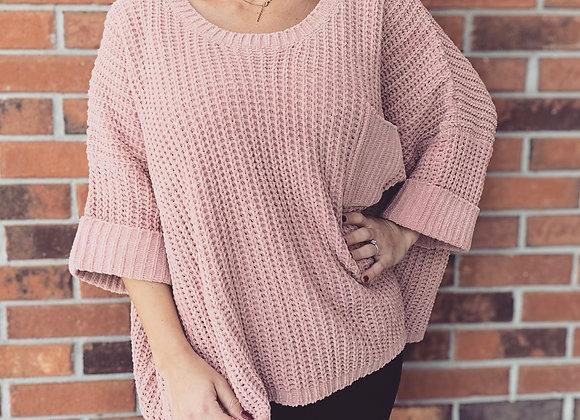 Mauve short sleeve sweater