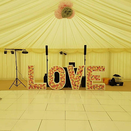4ft Floral Love Letter Hire
