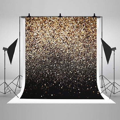 Glitter Black Gold Dots Backdrop