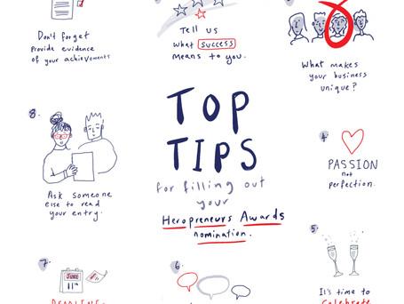 Ten Top Tips for your Heropreneurs Awards application!
