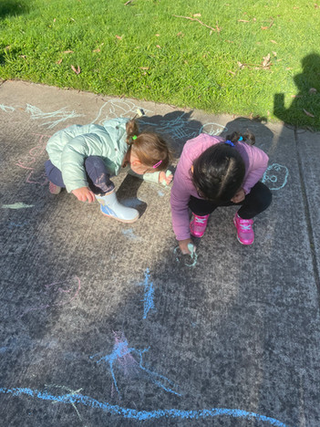 Making marks with chalk