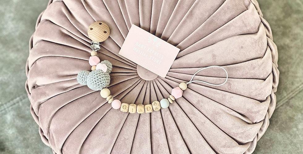 MickeyMouse grau-rosa personalisierte Nuggikette