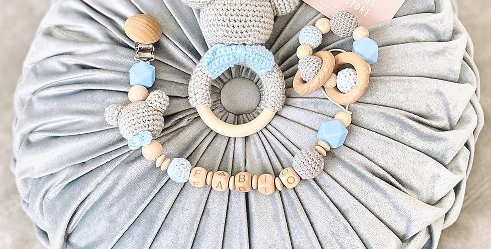 MickeyMouse 3er Set klein personalisiert grau-hellblau mit Fliege