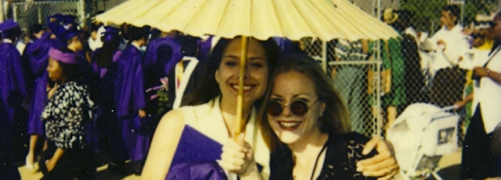 Sarah and her High School Best Friend, Gwendolyn Sanford at Sarah's High School Graduation from Hamilton Academy of Music 1993.