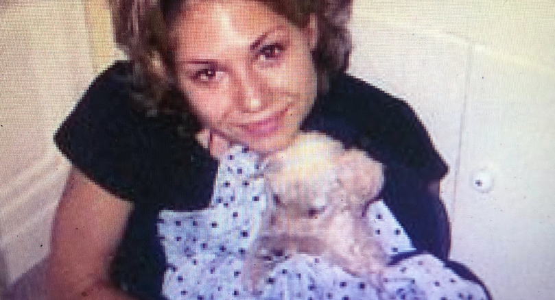 Sarah and her rescue puppy Wolfgang before the 96 Fire after Sarah completed the Canadian Production Shuki Levy sent her to Canada for.