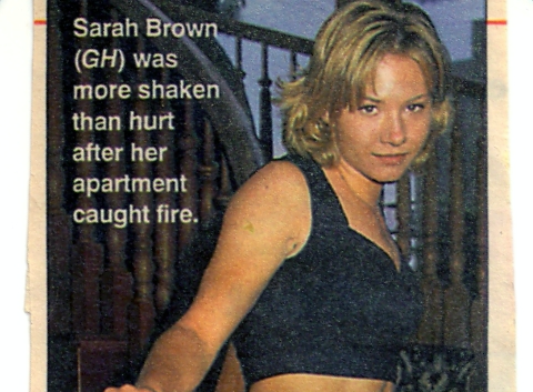 Article about Sarah's appartment fire (1996)