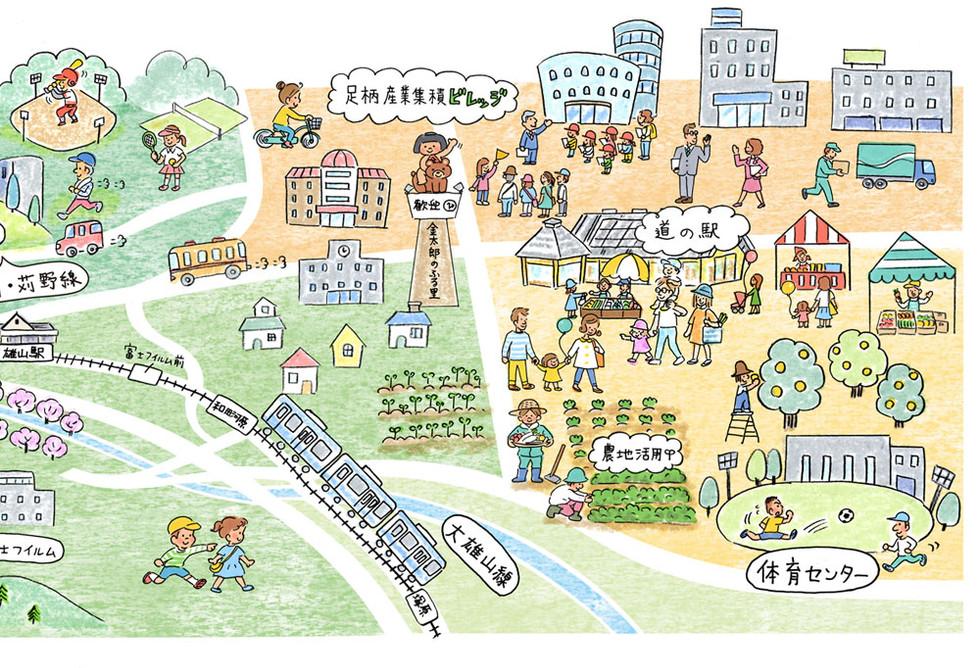 南足柄市イラストマップ