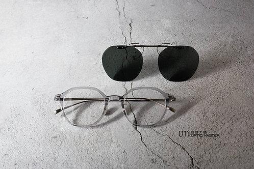 金子眼鏡 透明灰 KJ55 flip-on 連 1.6/1.67 Klar by ZEISS 鏡片