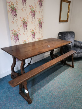 Spanish hardwood table and French walnut bench