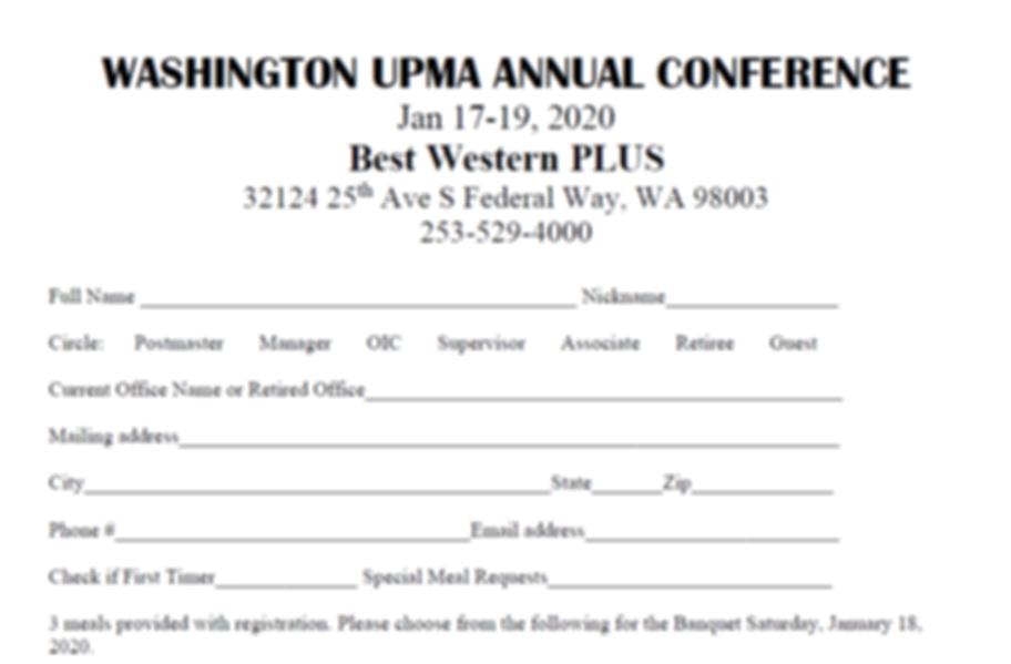 Conference Registration Jan 17-19 2020 -