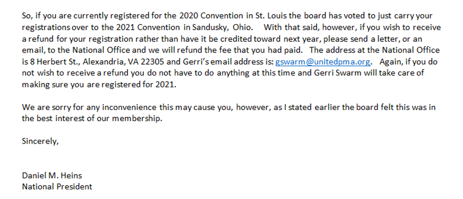 Nat'l Convention 2020 Cancellation - Bot