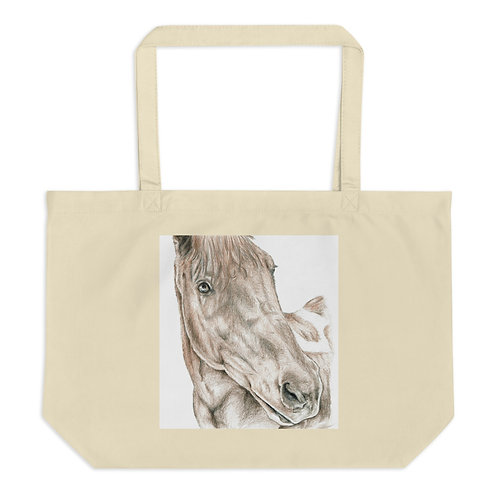 Inquisitive Horse Large organic tote bag