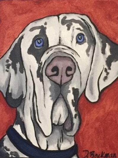 Harlequinn Great Dane Painting