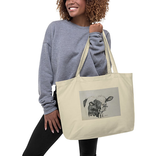 Cow Large organic tote bag