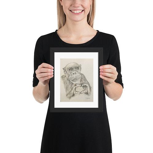 Love Chimp Framed poster
