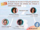 Diálogos do CONGEMAS: Os desafios nos 30 anos de ECA e o SUAS. Dia 14 as 17h00!