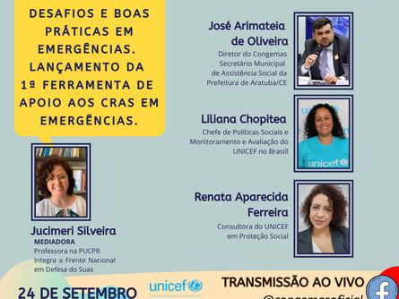 Participe do Diálogos do Congemas com o UNICEF Brasil que ocorrerá HOJE (24) às 17HORAS