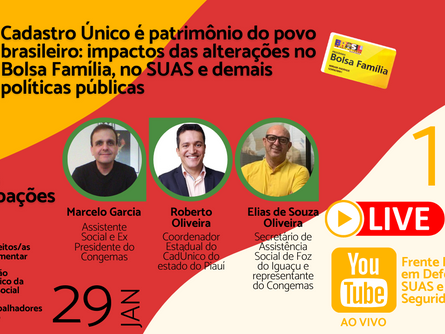 Live da Frente Nacional em Defesa do Suas e da Seguridade Social nesta sexta-feira (29), participe