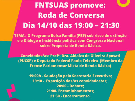 Participe da Roda de Conversa hoje - FNTSUAS