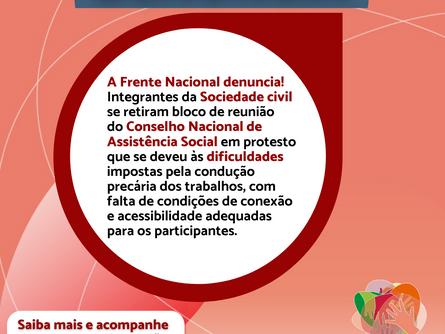 A Frente Nacional em Defesa do Suas e da Seguridade Social DENUNCIA!