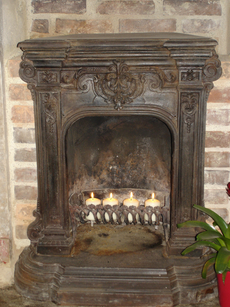 Limestone fire place with iron insert
