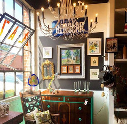 brown blue dresser