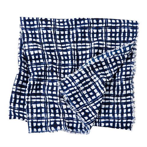 Blue Abstract Scarf - Squares