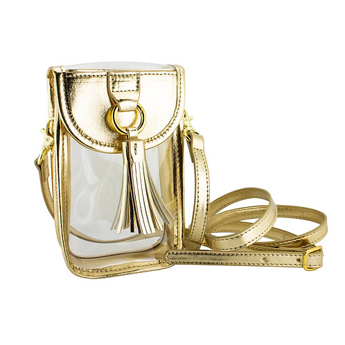 Gold Cell Phone Crossbody Bag