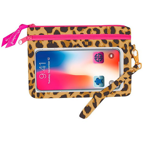 Simply Southern Cream Leopard Phone Wristlet