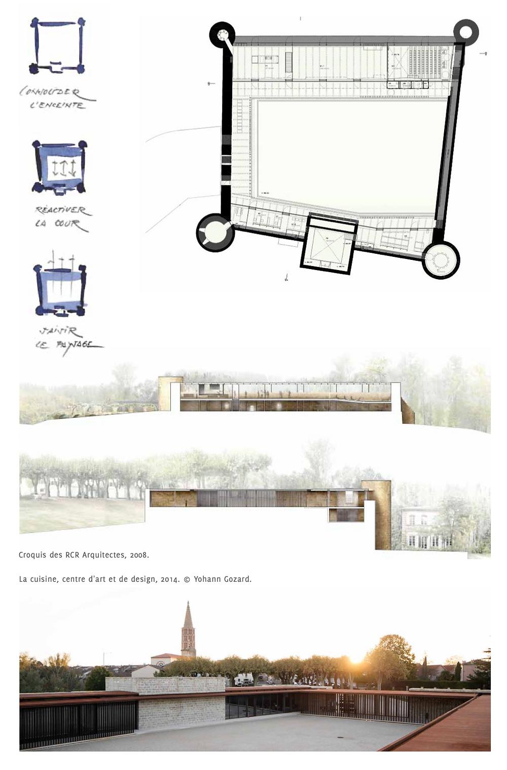 Croquis des RCR Arquitectes, 2008. La cuisine, centre d'art et de design, 2014. © Yohann Gozard.