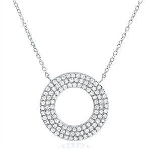 Silver Circle Of Life Necklace With Cubic Zirconia